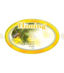 Ovales gelbes Honig-Etikett